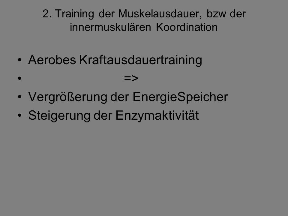 2. Training der Muskelausdauer, bzw der innermuskulären Koordination Aerobes Kraftausdauertraining => Vergrößerung der EnergieSpeicher Steigerung der