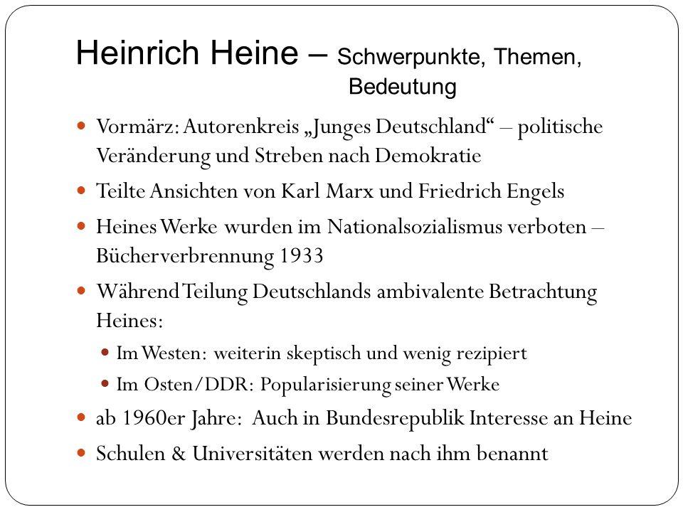 Heinrich Heine – Schwerpunkte, Themen, Bedeutung Vormärz: Autorenkreis Junges Deutschland – politische Veränderung und Streben nach Demokratie Teilte