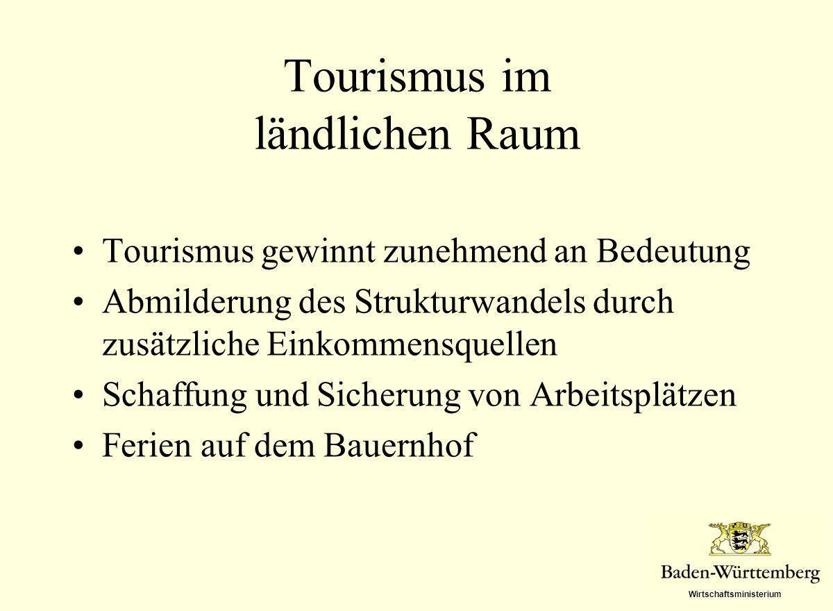 Wirtschaftsministerium Tourismus im ländlichen Raum Tourismus gewinnt zunehmend an Bedeutung Abmilderung des Strukturwandels durch zusätzliche Einkomm