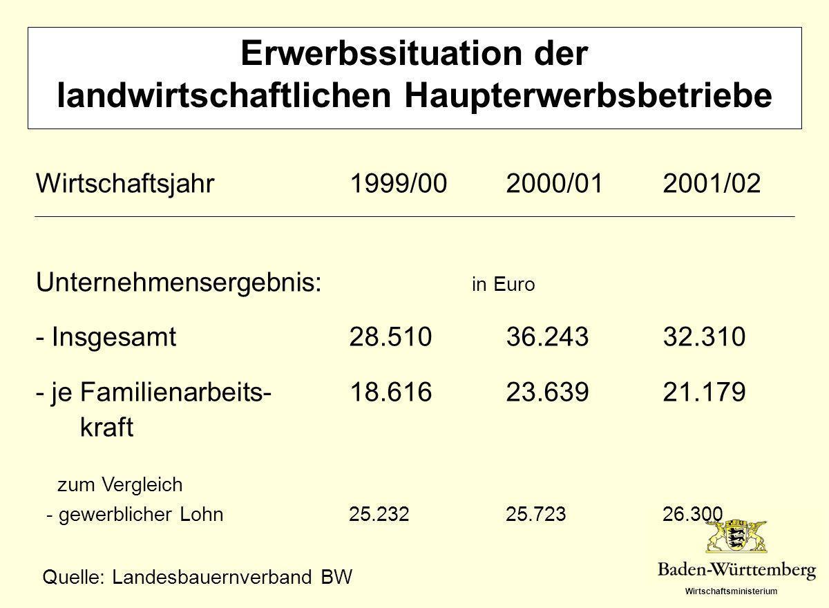 Wirtschaftsministerium Erwerbssituation der landwirtschaftlichen Haupterwerbsbetriebe Wirtschaftsjahr1999/002000/012001/02 Unternehmensergebnis: in Eu