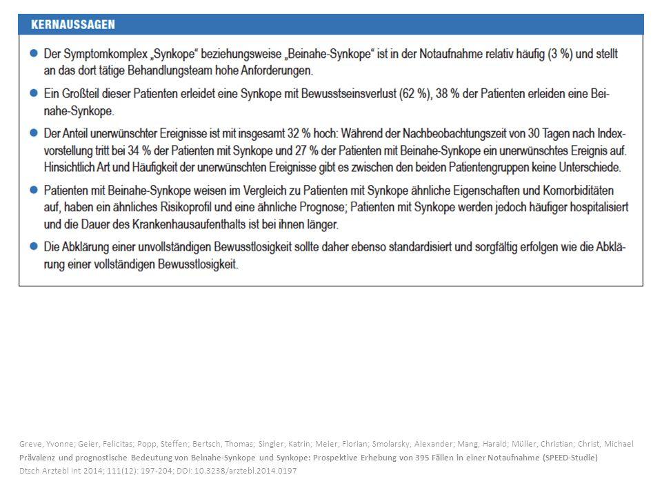 Greve, Yvonne; Geier, Felicitas; Popp, Steffen; Bertsch, Thomas; Singler, Katrin; Meier, Florian; Smolarsky, Alexander; Mang, Harald; Müller, Christia