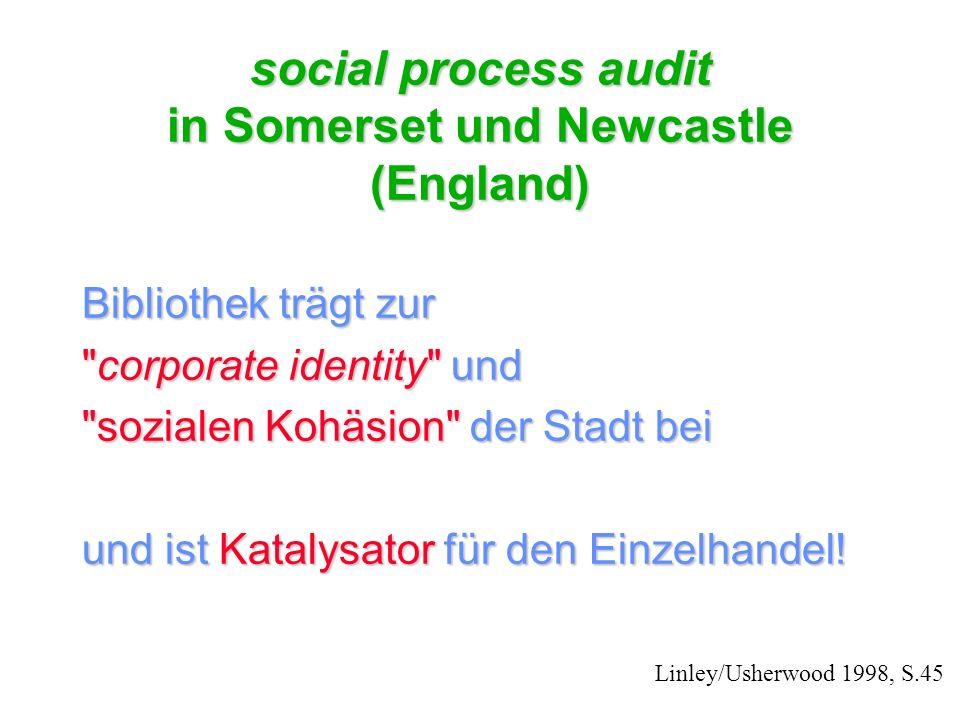 social process audit in Somerset und Newcastle (England) Bibliothek trägt zur corporate identity und sozialen Kohäsion der Stadt bei und ist Katalysator für den Einzelhandel.