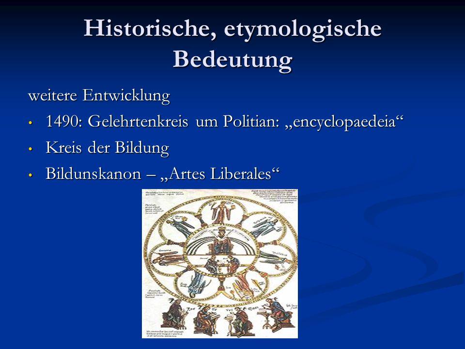 Historische, etymologische Bedeutung weitere Entwicklung 1490: Gelehrtenkreis um Politian: encyclopaedeia 1490: Gelehrtenkreis um Politian: encyclopae