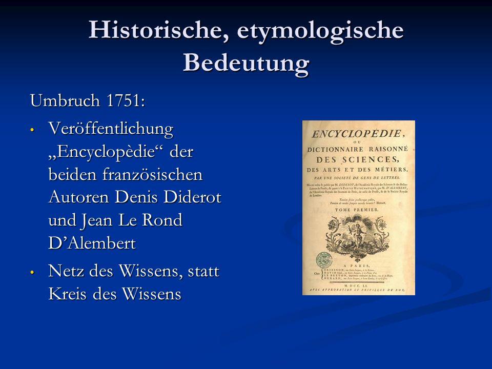 Historische, etymologische Bedeutung Umbruch 1751: Veröffentlichung Encyclopèdie der beiden französischen Autoren Denis Diderot und Jean Le Rond DAlem