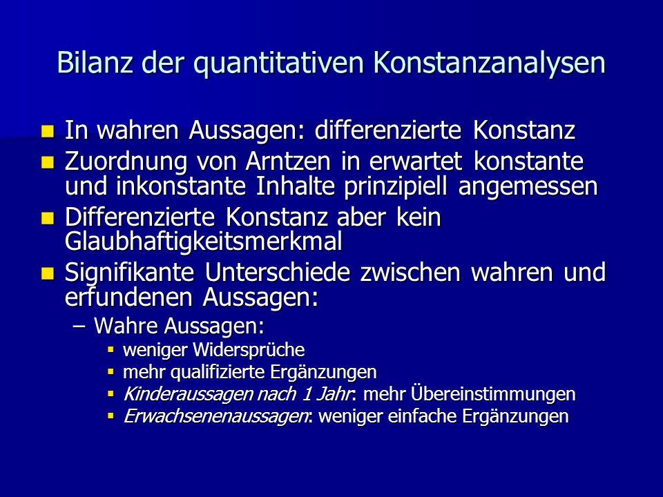 Bilanz der quantitativen Konstanzanalysen In wahren Aussagen: differenzierte Konstanz In wahren Aussagen: differenzierte Konstanz Zuordnung von Arntze