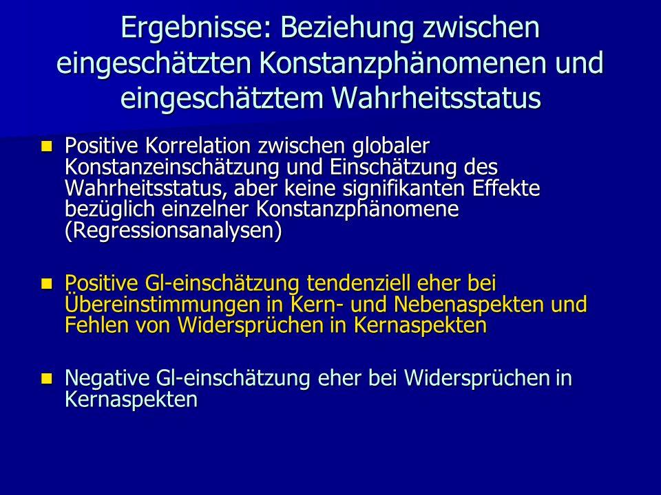 Ergebnisse: Beziehung zwischen eingeschätzten Konstanzphänomenen und eingeschätztem Wahrheitsstatus Positive Korrelation zwischen globaler Konstanzein