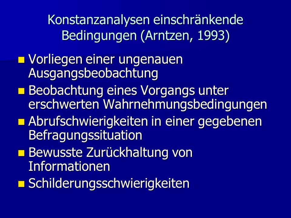 Konstanzanalysen einschränkende Bedingungen (Arntzen, 1993) Vorliegen einer ungenauen Ausgangsbeobachtung Vorliegen einer ungenauen Ausgangsbeobachtun