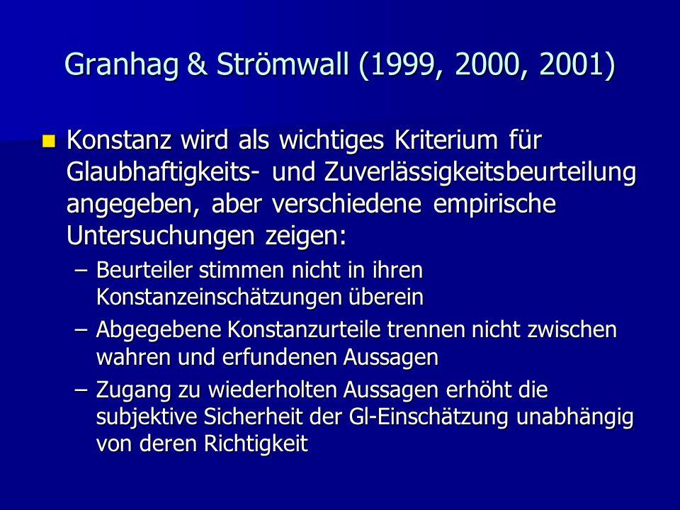 Granhag & Strömwall (1999, 2000, 2001) Konstanz wird als wichtiges Kriterium für Glaubhaftigkeits- und Zuverlässigkeitsbeurteilung angegeben, aber ver