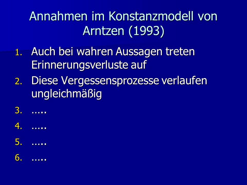 Annahmen im Konstanzmodell von Arntzen (1993) 1. Auch bei wahren Aussagen treten Erinnerungsverluste auf 2. Diese Vergessensprozesse verlaufen ungleic