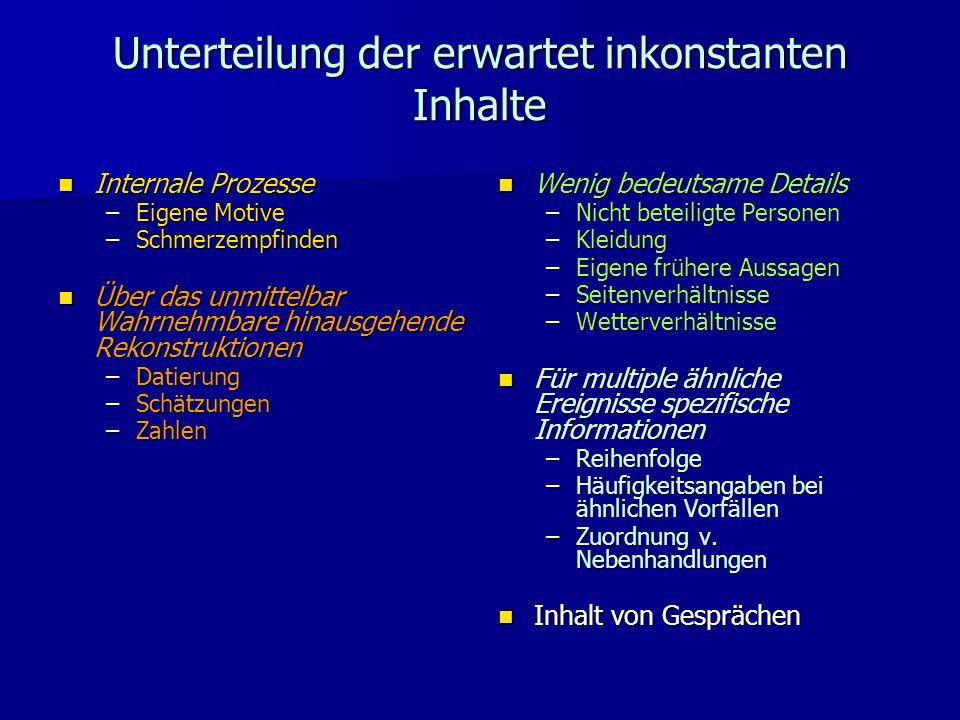 Unterteilung der erwartet inkonstanten Inhalte Internale Prozesse Internale Prozesse –Eigene Motive –Schmerzempfinden Über das unmittelbar Wahrnehmbar