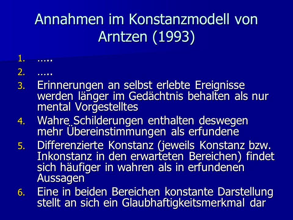 Annahmen im Konstanzmodell von Arntzen (1993) 1. ….. 2. ….. 3. Erinnerungen an selbst erlebte Ereignisse werden länger im Gedächtnis behalten als nur