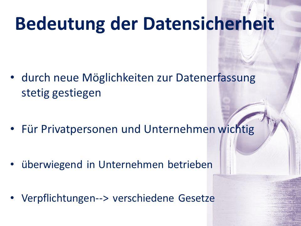 Schutzziele der Datensicherheit Datensicherheit und Datenschutz Vertraulichkeit, Integrität, Verfügbarkeit Authentizität (Echtheit, Original) Schutz von personenbezogenen Daten, Vertragsdaten oder Forschungsergebnissen Persönlichkeitsrechte des Menschen schützen Minimierung von Risiken
