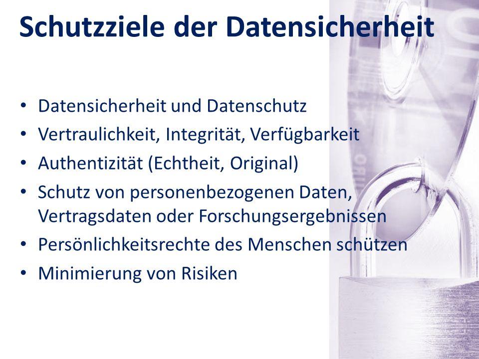 Schutzziele der Datensicherheit Datensicherheit und Datenschutz Vertraulichkeit, Integrität, Verfügbarkeit Authentizität (Echtheit, Original) Schutz v