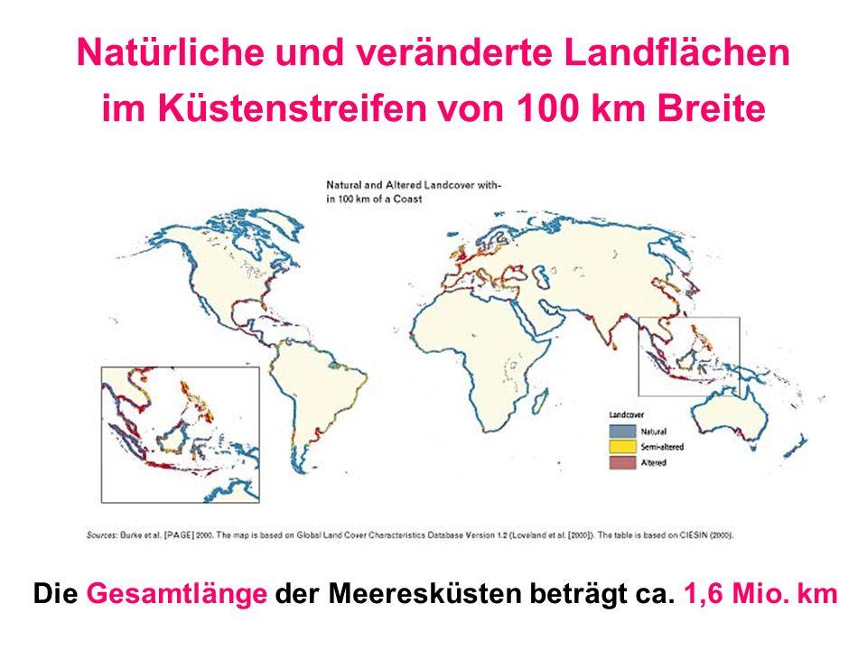 Natürliche und veränderte Landflächen im Küstenstreifen von 100 km Breite Die Gesamtlänge der Meeresküsten beträgt ca. 1,6 Mio. km