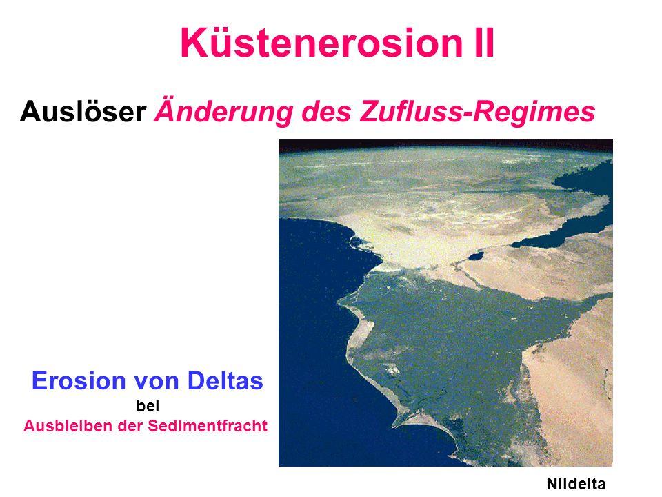 Küstenerosion II Auslöser Änderung des Zufluss-Regimes Nildelta Erosion von Deltas bei Ausbleiben der Sedimentfracht