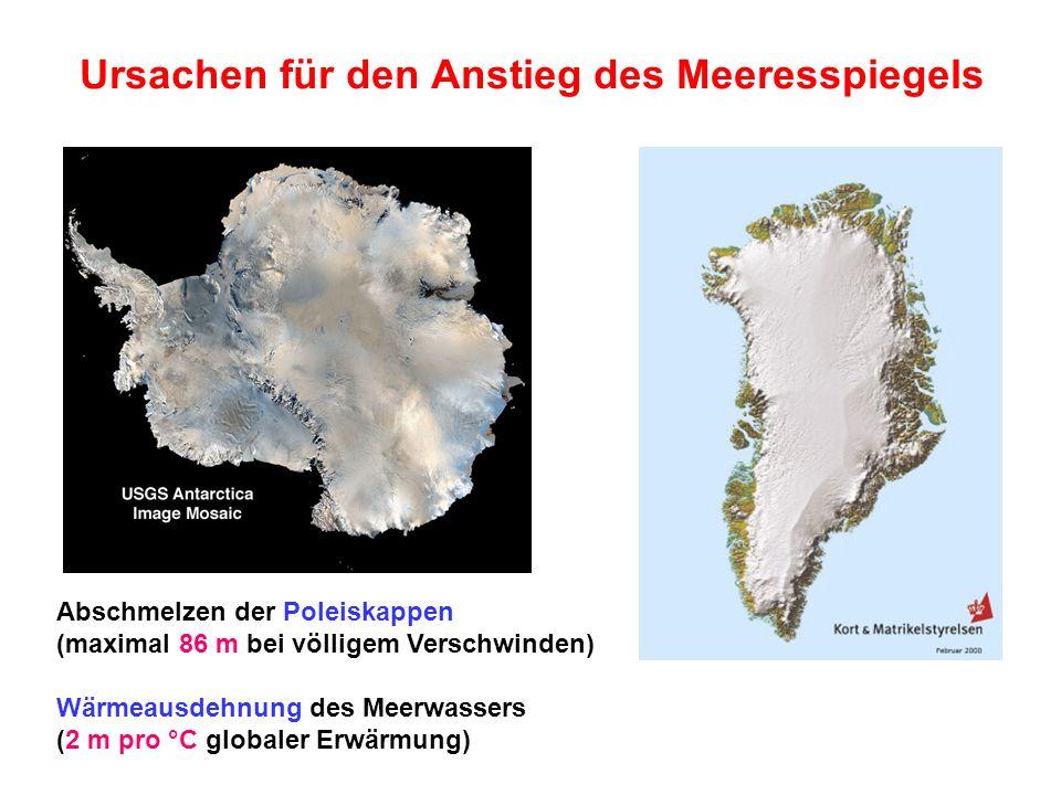 Ursachen für den Anstieg des Meeresspiegels Abschmelzen der Poleiskappen (maximal 86 m bei völligem Verschwinden) Wärmeausdehnung des Meerwassers (2 m