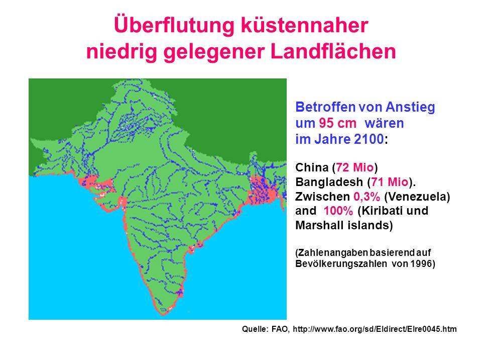 Überflutung küstennaher niedrig gelegener Landflächen Quelle: FAO, http://www.fao.org/sd/EIdirect/EIre0045.htm Betroffen von Anstieg um 95 cm wären im