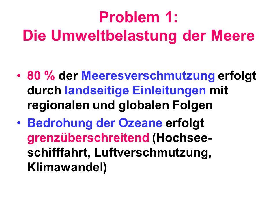 Problem 1: Die Umweltbelastung der Meere 80 % der Meeresverschmutzung erfolgt durch landseitige Einleitungen mit regionalen und globalen Folgen Bedroh