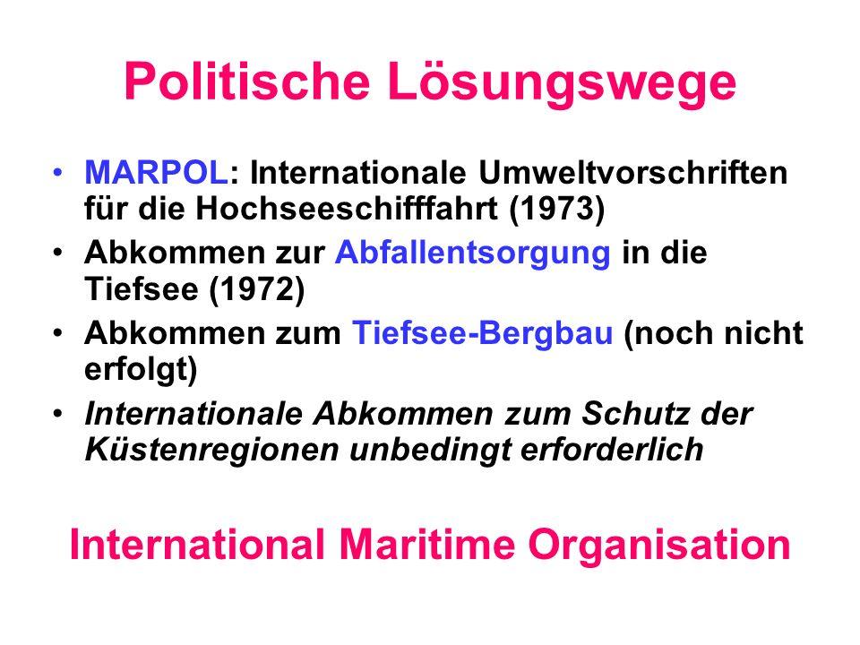 Politische Lösungswege MARPOL: Internationale Umweltvorschriften für die Hochseeschifffahrt (1973) Abkommen zur Abfallentsorgung in die Tiefsee (1972)