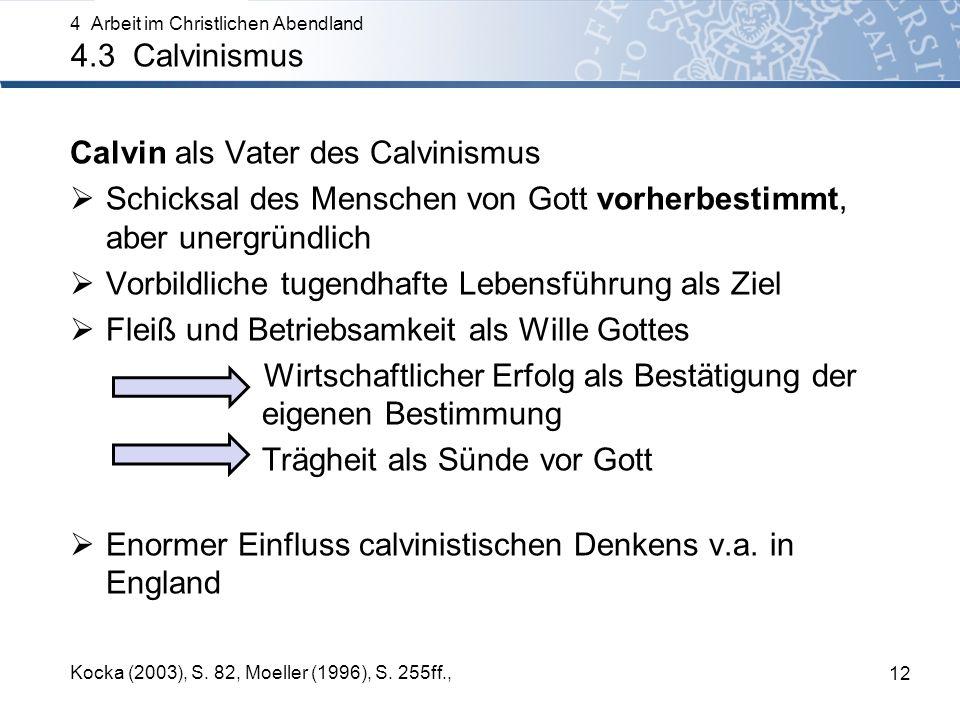 Calvin als Vater des Calvinismus Schicksal des Menschen von Gott vorherbestimmt, aber unergründlich Vorbildliche tugendhafte Lebensführung als Ziel Fleiß und Betriebsamkeit als Wille Gottes Wirtschaftlicher Erfolg als Bestätigung der eigenen Bestimmung Trägheit als Sünde vor Gott Enormer Einfluss calvinistischen Denkens v.a.