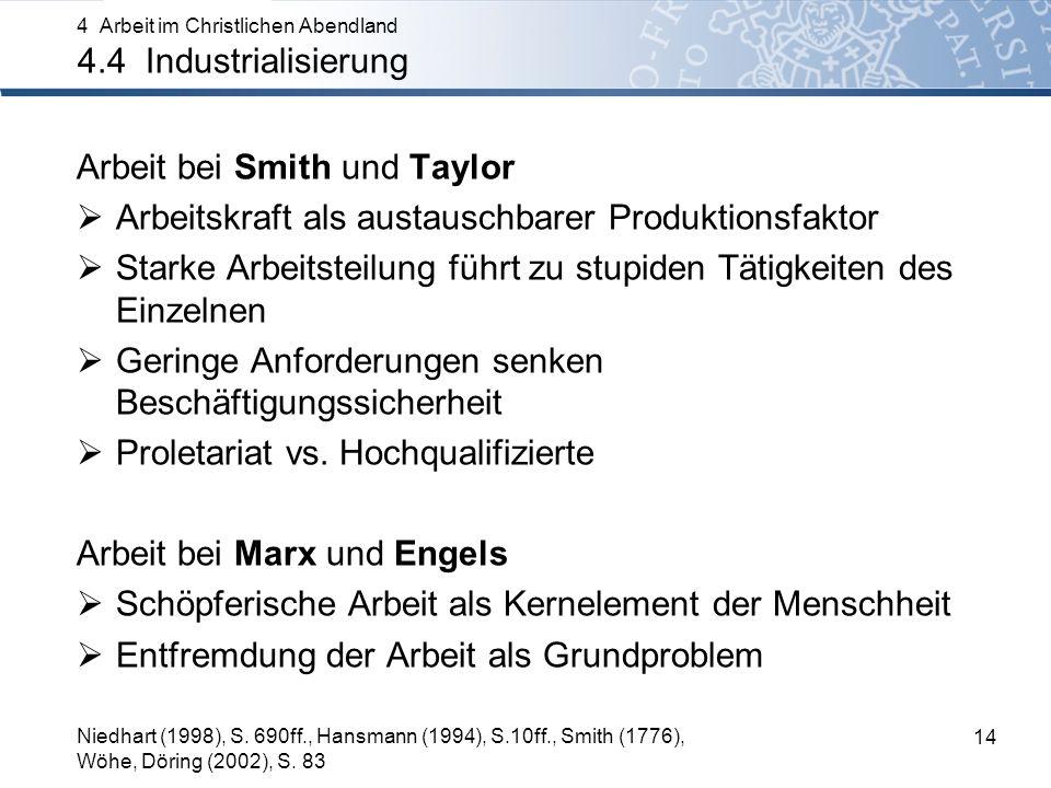 Arbeit bei Smith und Taylor Arbeitskraft als austauschbarer Produktionsfaktor Starke Arbeitsteilung führt zu stupiden Tätigkeiten des Einzelnen Geringe Anforderungen senken Beschäftigungssicherheit Proletariat vs.