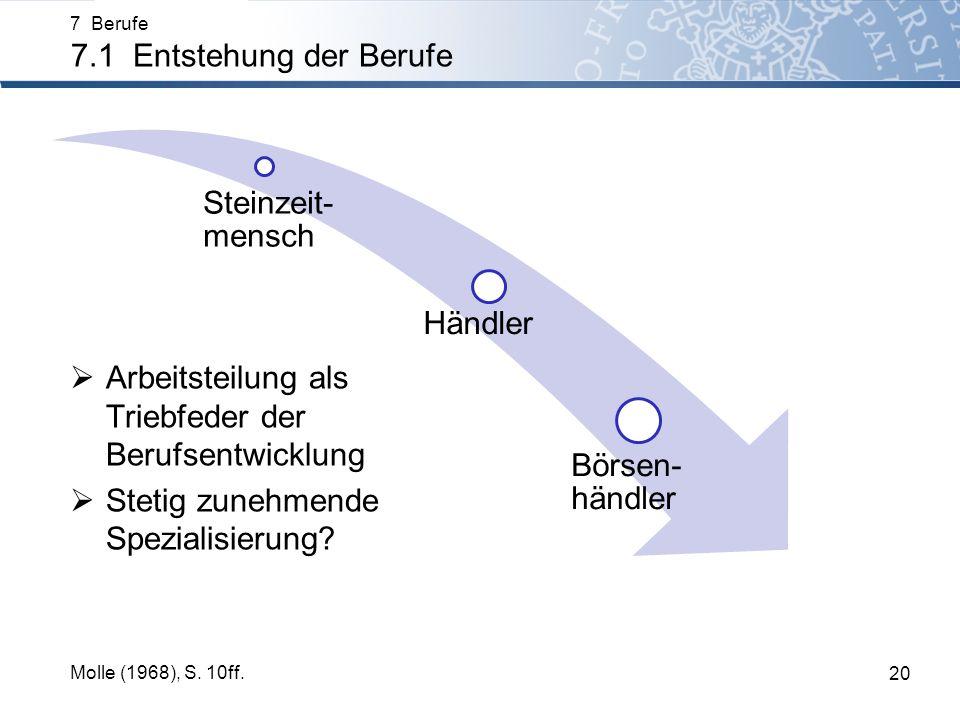 7 Berufe 7.1 Entstehung der Berufe 20 Molle (1968), S. 10ff. Steinzeit- mensch Händler Börsen- händler Arbeitsteilung als Triebfeder der Berufsentwick