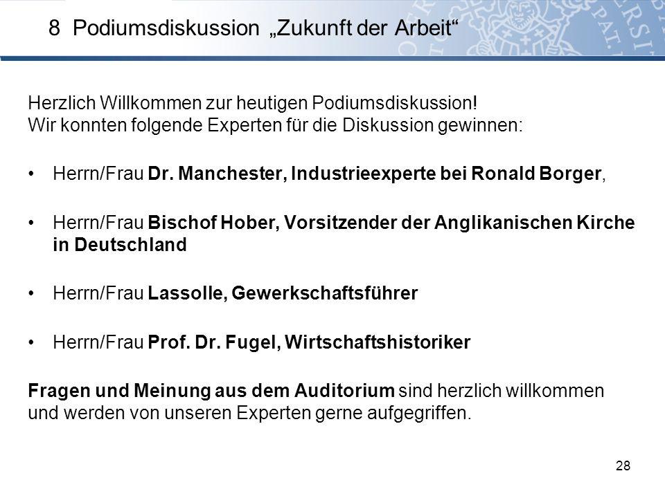 Herzlich Willkommen zur heutigen Podiumsdiskussion! Wir konnten folgende Experten für die Diskussion gewinnen: Herrn/Frau Dr. Manchester, Industrieexp