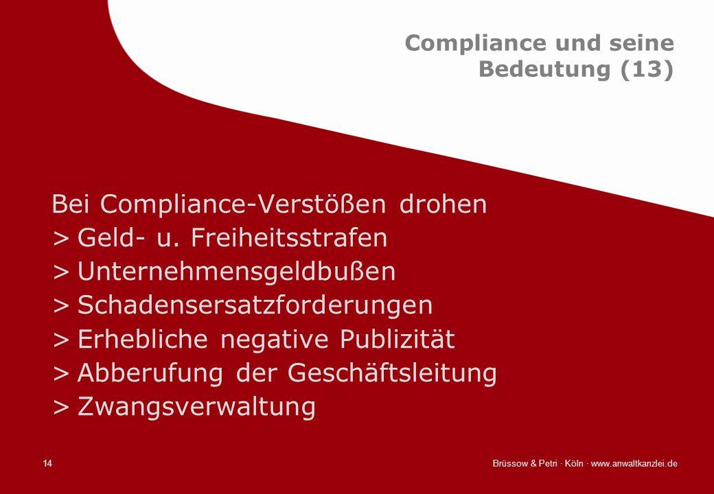 Brüssow & Petri · Köln · www.anwaltkanzlei.de14 Compliance und seine Bedeutung (13) Bei Compliance-Verstößen drohen >Geld- u. Freiheitsstrafen >Untern