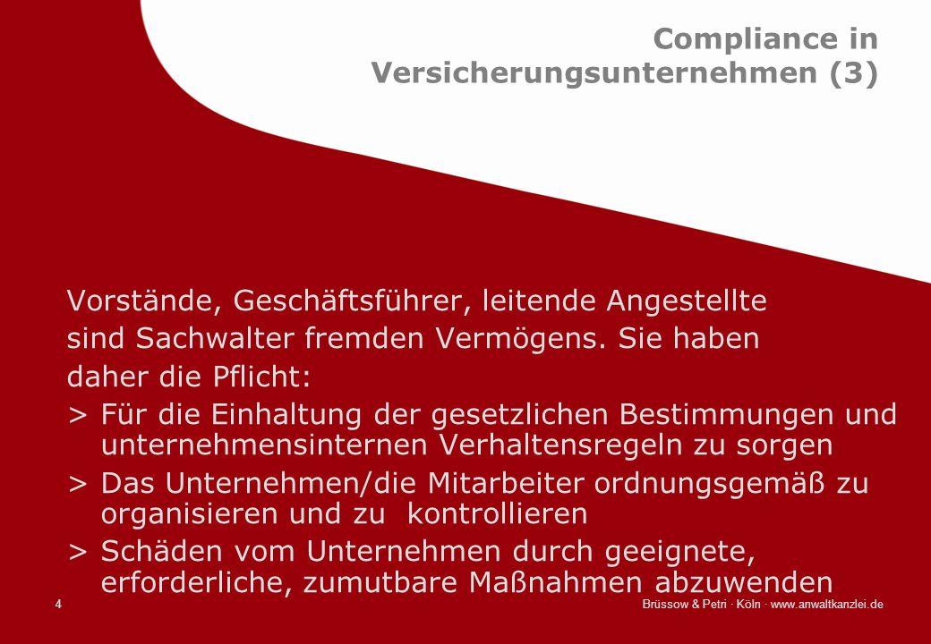Brüssow & Petri · Köln · www.anwaltkanzlei.de4 Compliance in Versicherungsunternehmen (3) Vorstände, Geschäftsführer, leitende Angestellte sind Sachwa