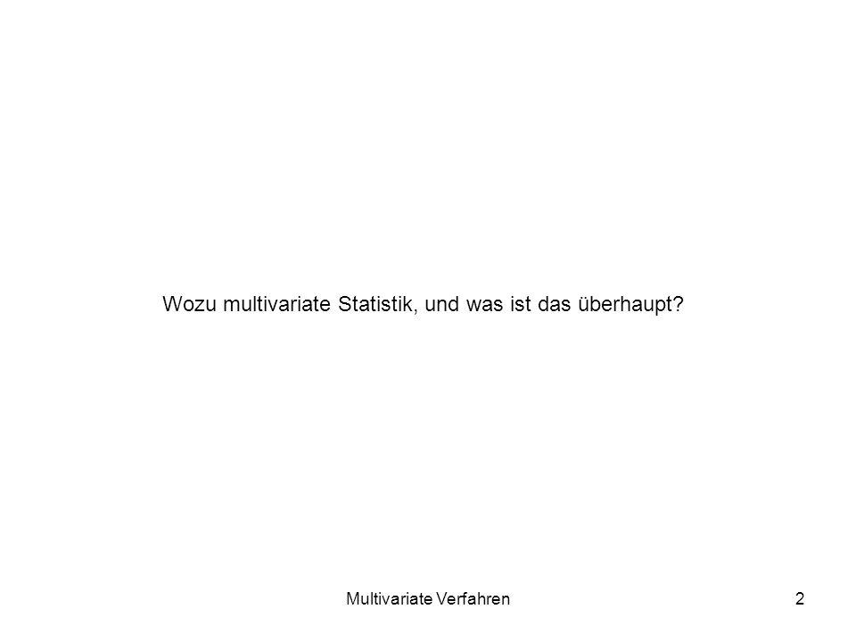 Multivariate Verfahren2 Wozu multivariate Statistik, und was ist das überhaupt?