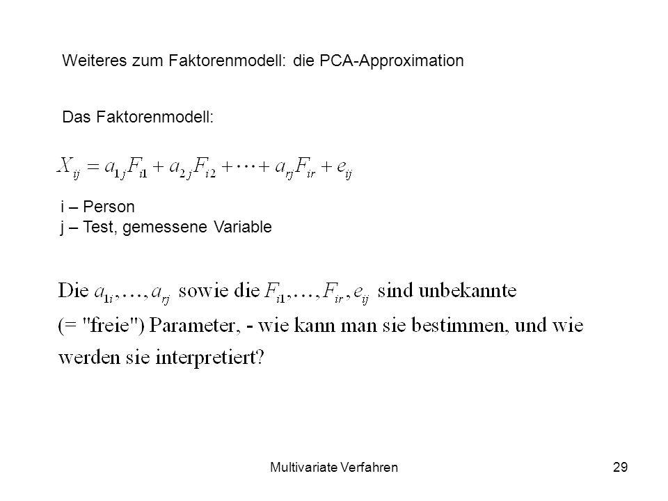Multivariate Verfahren29 Das Faktorenmodell: Weiteres zum Faktorenmodell: die PCA-Approximation i – Person j – Test, gemessene Variable