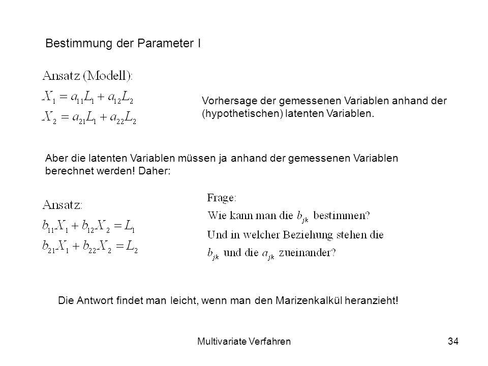 Multivariate Verfahren34 Bestimmung der Parameter I Vorhersage der gemessenen Variablen anhand der (hypothetischen) latenten Variablen.