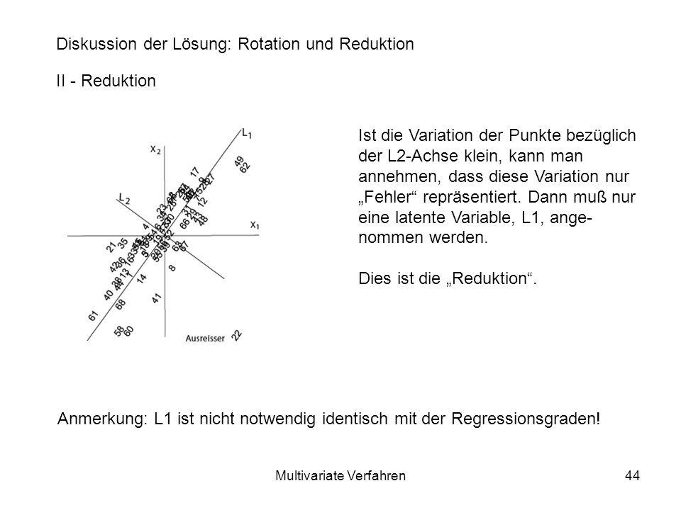 Multivariate Verfahren44 Diskussion der Lösung: Rotation und Reduktion II - Reduktion Ist die Variation der Punkte bezüglich der L2-Achse klein, kann man annehmen, dass diese Variation nur Fehler repräsentiert.