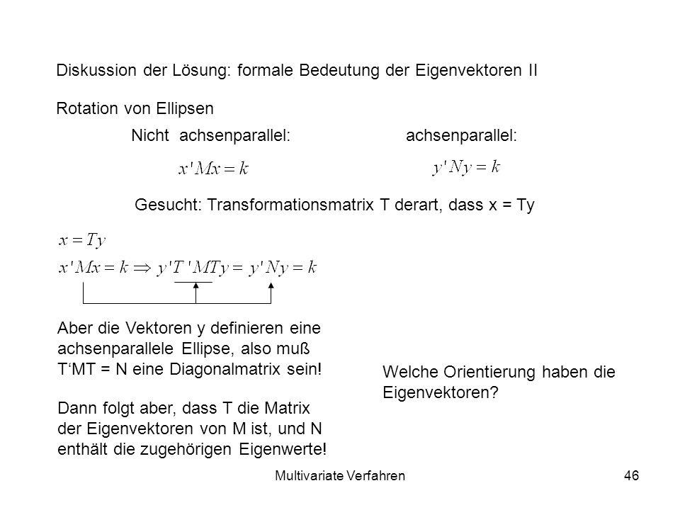 Multivariate Verfahren46 Diskussion der Lösung: formale Bedeutung der Eigenvektoren II Rotation von Ellipsen Nicht achsenparallel:achsenparallel: Gesucht: Transformationsmatrix T derart, dass x = Ty Aber die Vektoren y definieren eine achsenparallele Ellipse, also muß TMT = N eine Diagonalmatrix sein.