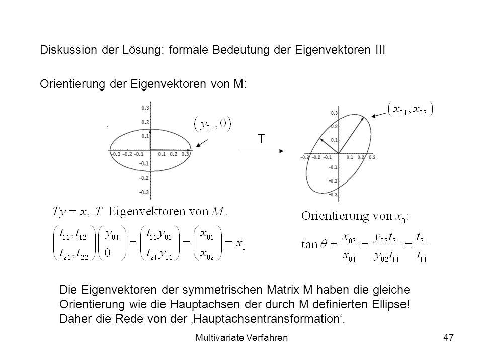 Multivariate Verfahren47 Diskussion der Lösung: formale Bedeutung der Eigenvektoren III Orientierung der Eigenvektoren von M: Die Eigenvektoren der symmetrischen Matrix M haben die gleiche Orientierung wie die Hauptachsen der durch M definierten Ellipse.
