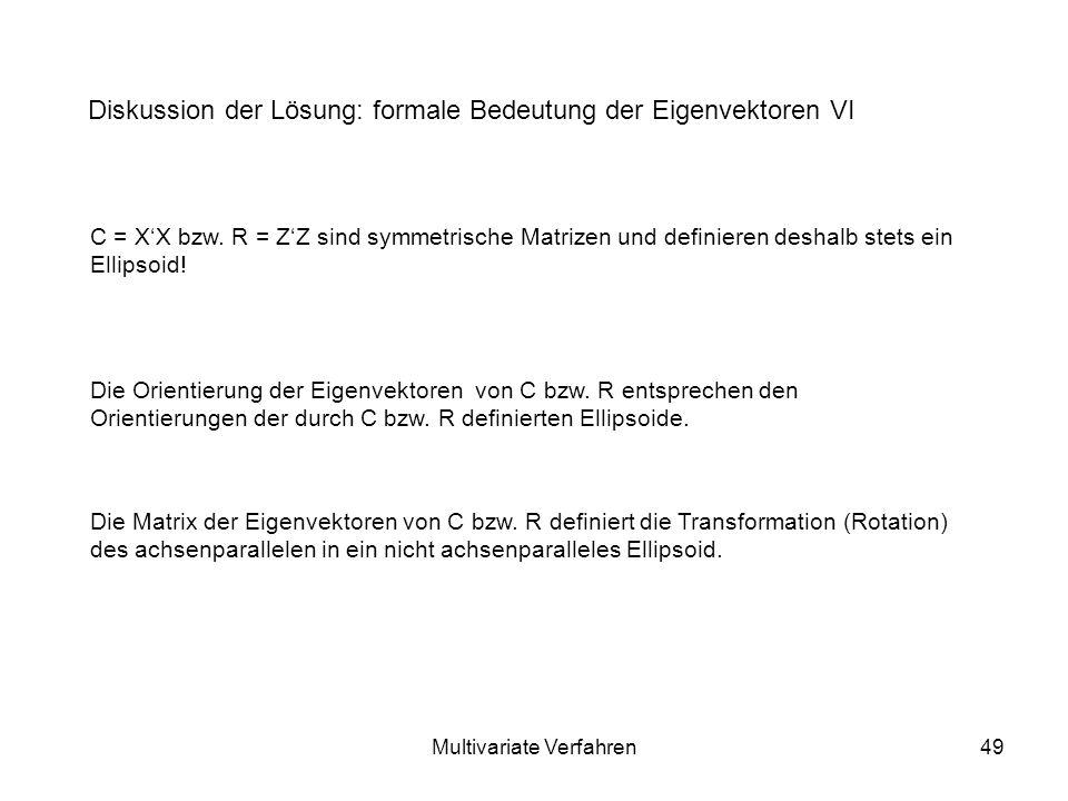 Multivariate Verfahren49 Diskussion der Lösung: formale Bedeutung der Eigenvektoren VI C = XX bzw.