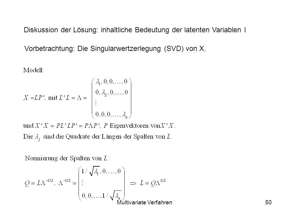 Multivariate Verfahren50 Diskussion der Lösung: inhaltliche Bedeutung der latenten Variablen I Vorbetrachtung: Die Singularwertzerlegung (SVD) von X.
