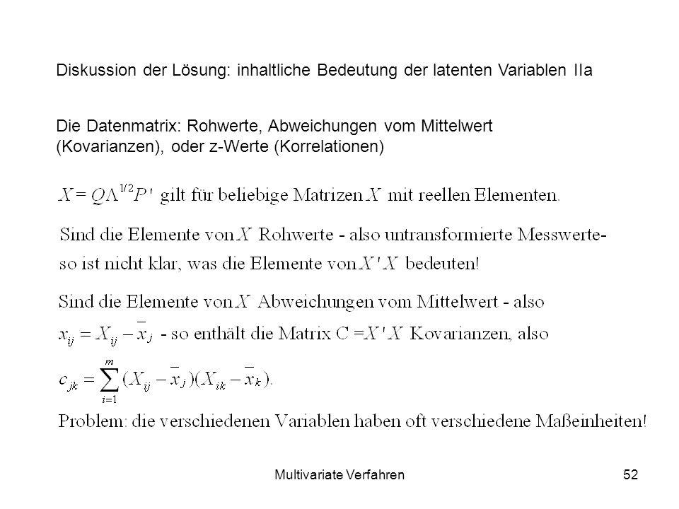 Multivariate Verfahren52 Diskussion der Lösung: inhaltliche Bedeutung der latenten Variablen IIa Die Datenmatrix: Rohwerte, Abweichungen vom Mittelwert (Kovarianzen), oder z-Werte (Korrelationen)
