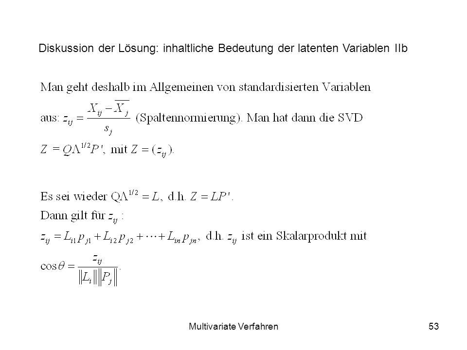 Multivariate Verfahren53 Diskussion der Lösung: inhaltliche Bedeutung der latenten Variablen IIb
