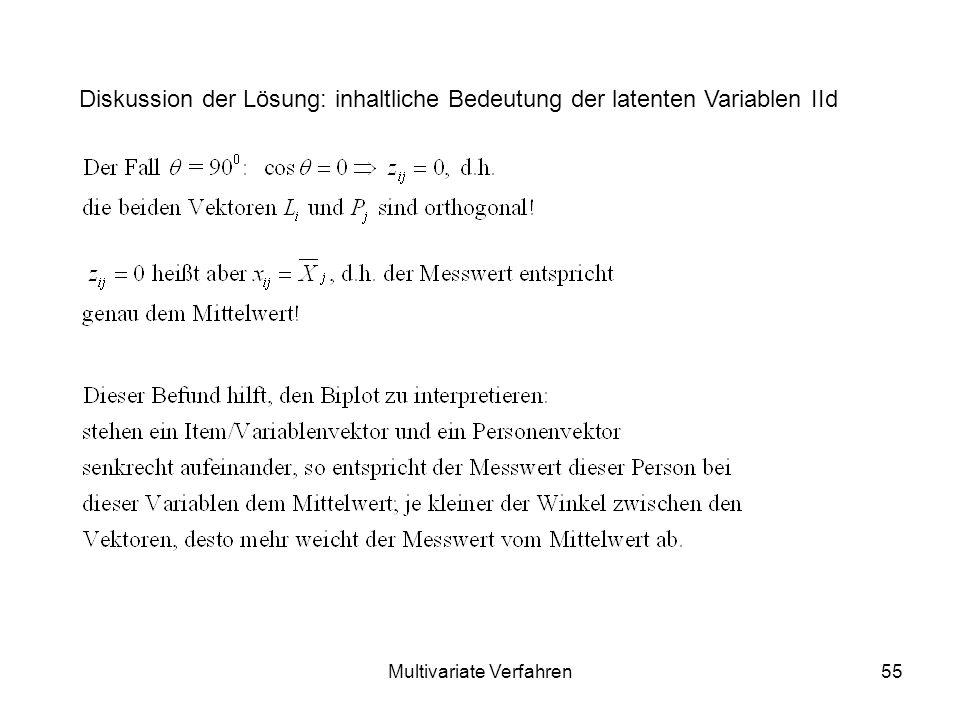 Multivariate Verfahren55 Diskussion der Lösung: inhaltliche Bedeutung der latenten Variablen IId