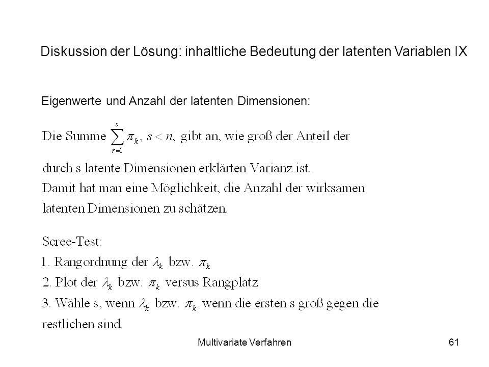 Multivariate Verfahren61 Diskussion der Lösung: inhaltliche Bedeutung der latenten Variablen IX Eigenwerte und Anzahl der latenten Dimensionen: