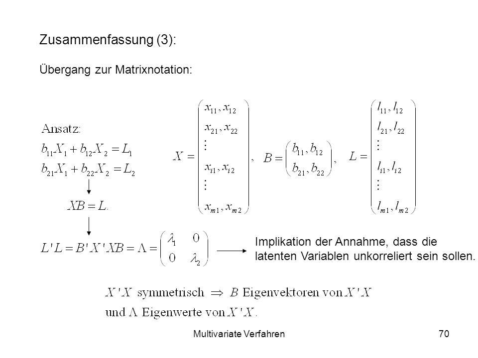 Multivariate Verfahren70 Zusammenfassung (3): Übergang zur Matrixnotation: Implikation der Annahme, dass die latenten Variablen unkorreliert sein sollen.