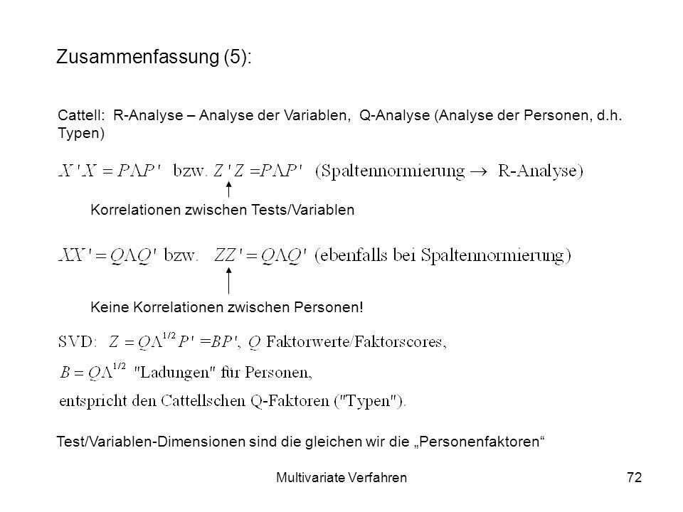 Multivariate Verfahren72 Zusammenfassung (5): Cattell: R-Analyse – Analyse der Variablen, Q-Analyse (Analyse der Personen, d.h.