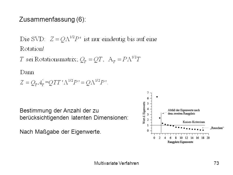 Multivariate Verfahren73 Zusammenfassung (6): Bestimmung der Anzahl der zu berücksichtigenden latenten Dimensionen: Nach Maßgabe der Eigenwerte.