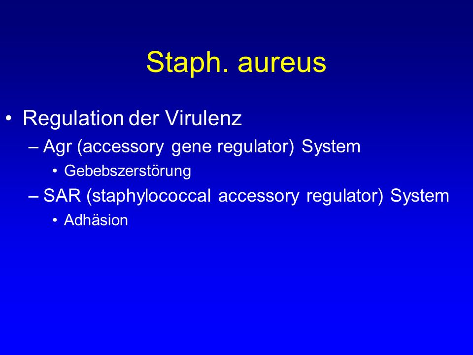 Staph. aureus Regulation der Virulenz –Agr (accessory gene regulator) System Gebebszerstörung –SAR (staphylococcal accessory regulator) System Adhäsio