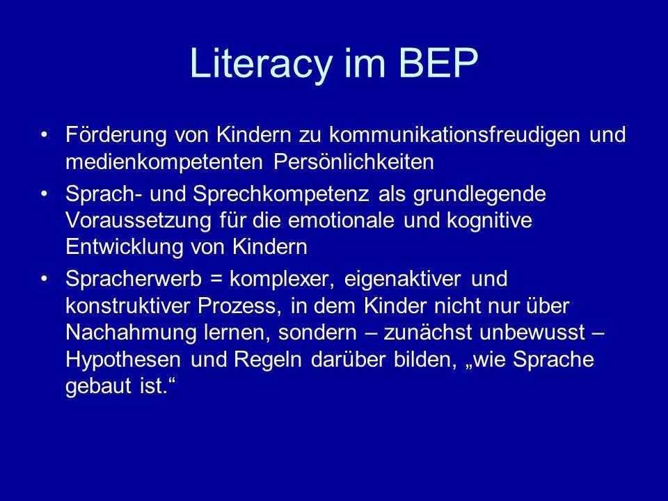 Literacy im BEP Förderung von Kindern zu kommunikationsfreudigen und medienkompetenten Persönlichkeiten Sprach- und Sprechkompetenz als grundlegende V