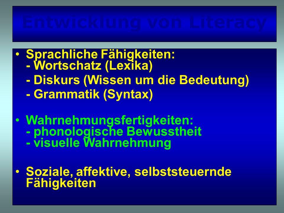 Entwicklung von Literacy Sprachliche Fähigkeiten: - Wortschatz (Lexika) - Diskurs (Wissen um die Bedeutung) - Grammatik (Syntax) Wahrnehmungsfertigkei