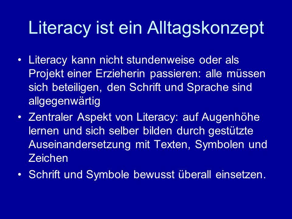 Literacy ist ein Alltagskonzept Literacy kann nicht stundenweise oder als Projekt einer Erzieherin passieren: alle müssen sich beteiligen, den Schrift