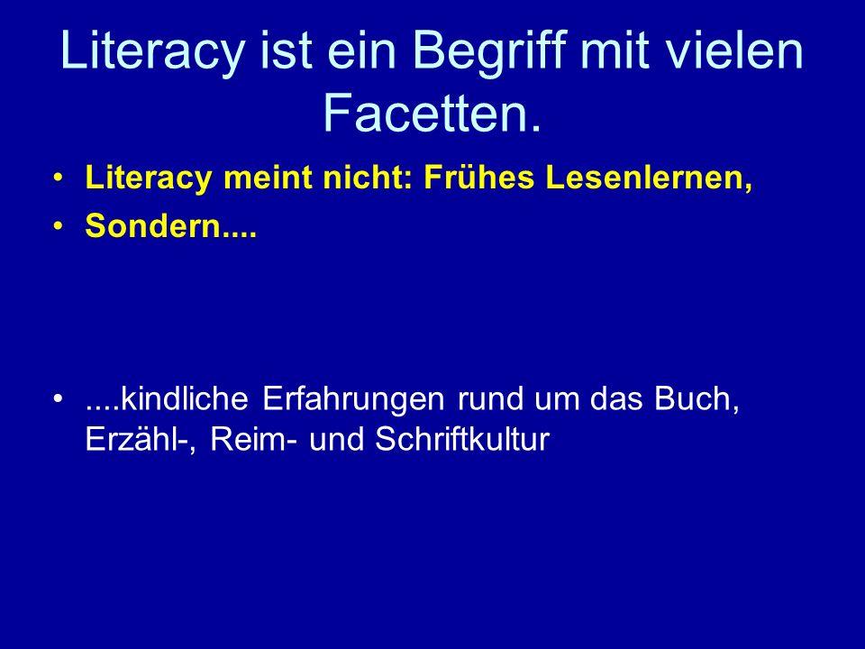 Literacy ist ein Begriff mit vielen Facetten. Literacy meint nicht: Frühes Lesenlernen, Sondern........kindliche Erfahrungen rund um das Buch, Erzähl-