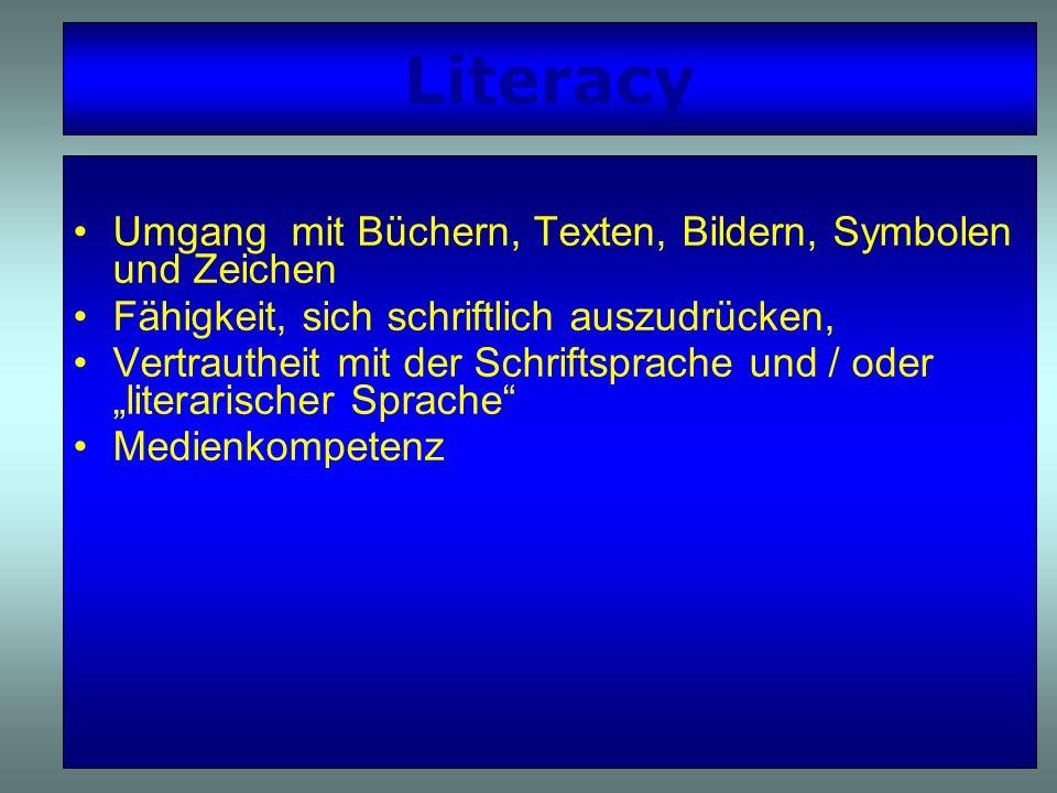 Entwicklung von Literacy Erzählkompetenz und -freude Bewusstsein für verschiedene Sprachstile und Textsorten Kompetenzen und Interessen im Bereich von Laut- und Sprachspielen, Reimen u.
